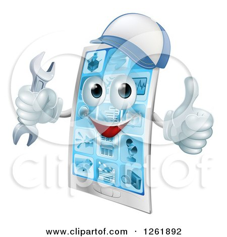 Clipart of a 3d Happy Smart Phone Character Wearing a Hat, Holding a Thumb up and an Adjustable Wrench - Royalty Free Vector Illustration by AtStockIllustration