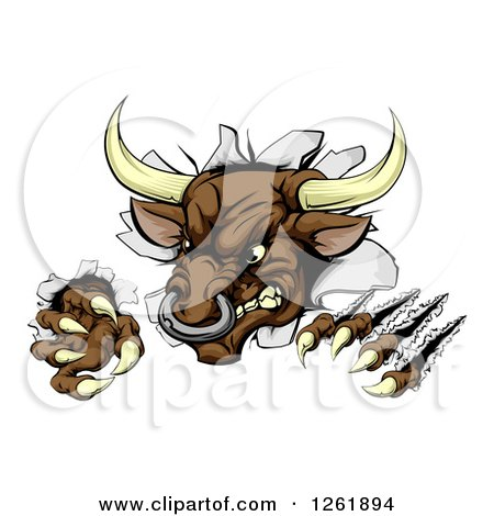 Clipart of an Attacking Aggressive Bull Breaking Through a Wall - Royalty Free Vector Illustration by AtStockIllustration