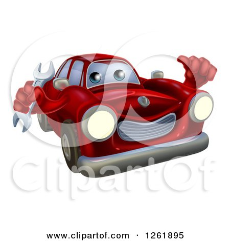 Clipart of a Red Car Character Mechanic Holding a Wrench and Thumb up - Royalty Free Vector Illustration by AtStockIllustration