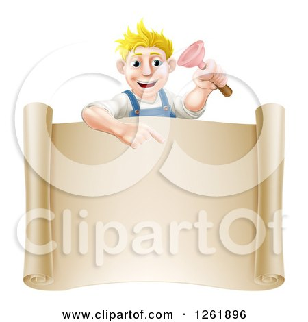 Clipart of a Blond White Male Plumber Holding a Plunger and Pointing down at a Scroll Sign - Royalty Free Vector Illustration by AtStockIllustration