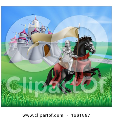 Clipart of a Horseback Medieval Knight in Armor, Riding with a Banner in a Lush Landscape by a Castle - Royalty Free Vector Illustration by AtStockIllustration