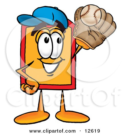 Clipart Picture of a Price Tag Mascot Cartoon Character Catching a Baseball With a Glove by Toons4Biz