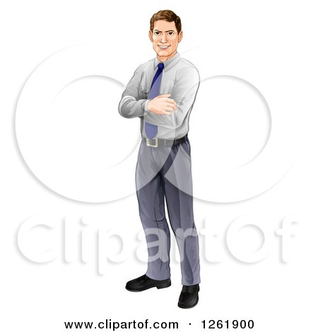 Happy Brunette Caucasian Businessman Standing with Folded Arms Posters, Art Prints