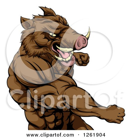 Clipart of a Muscular Aggressive Boar Man Punching - Royalty Free Vector Illustration by AtStockIllustration