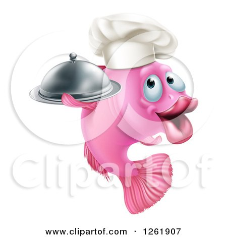 Clipart of a Happy Pink Chef Fish Holding a Cloche Platter - Royalty Free Vector Illustration by AtStockIllustration