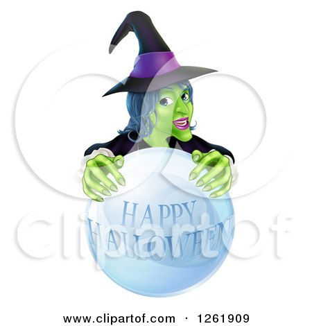 Clipart of a Green Witch Behind a Happy Halloween Crystal Ball - Royalty Free Vector Illustration by AtStockIllustration