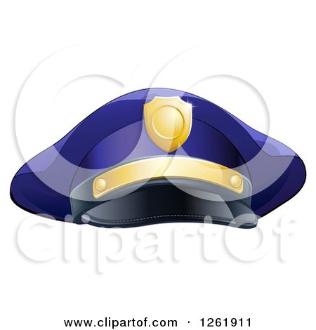 Clipart of a Navy Blue Police Man's Hat with Gold Accents - Royalty Free Vector Illustration by AtStockIllustration