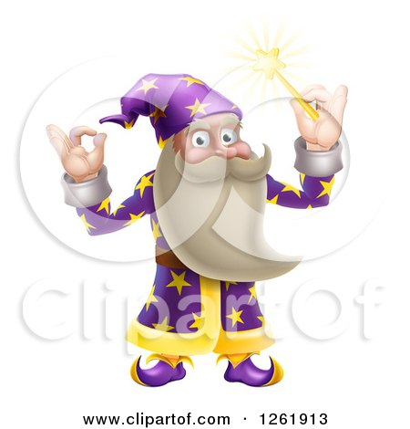Clipart of a Happy Old Wizard Gesturing Ok and Holding up a Magic Wand - Royalty Free Vector Illustration by AtStockIllustration