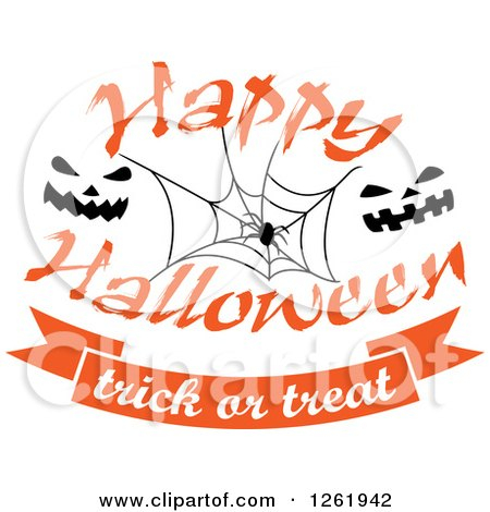 Clipart Of A Happy Halloween Trick Or Treat Design With A Spider Web And  Jackolantern Faces   Royalty Free Vector Illustration By Vector Tradition SM