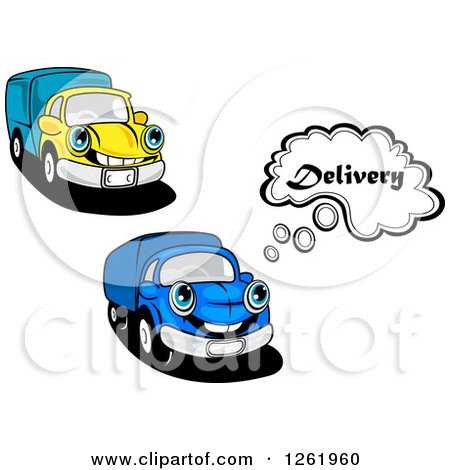 Clipart of Blue and Yellow Delivery Trucks - Royalty Free Vector Illustration by Vector Tradition SM