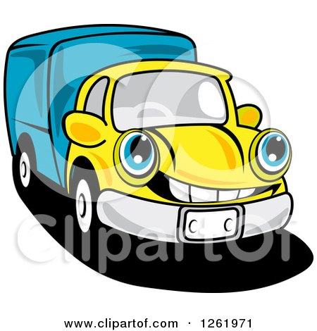 Clipart of a Blue and Yellow Moving Truck - Royalty Free Vector Illustration by Vector Tradition SM