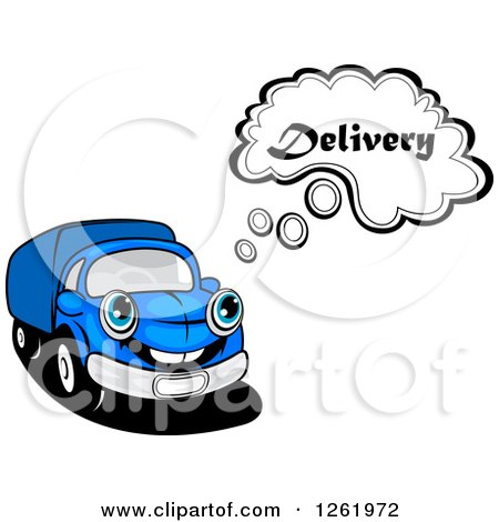 Clipart of a Blue Delivery Truck Thinking - Royalty Free Vector Illustration by Vector Tradition SM
