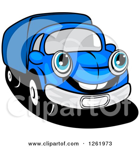 Clipart of a Blue Delivery Truck - Royalty Free Vector Illustration by Vector Tradition SM