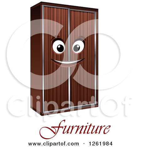 Clipart of a Happy Wardrobe Character over Furniture Text - Royalty Free Vector Illustration by Vector Tradition SM