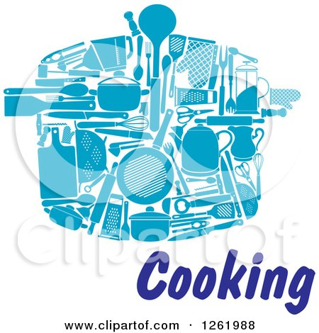 Clipart of Blue Kitchen Utensils Forming a Pot over Cooking Text - Royalty Free Vector Illustration by Vector Tradition SM