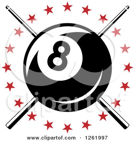Clipart of a Billiards Pool Eightball over Crossed Cue Sticks in a Circle of Red Stars - Royalty Free Vector Illustration by Vector Tradition SM