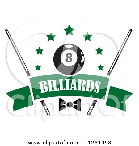 Clipart of a Billiards Pool Eightball with Stars, Cue Sticks and a Bow over a Blank Green Banner - Royalty Free Vector Illustration by Vector Tradition SM