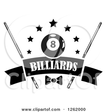 Clipart of a Black and White Billiards Pool Eightball with Stars, Cue Sticks and a Bow over a Blank Banner - Royalty Free Vector Illustration by Vector Tradition SM