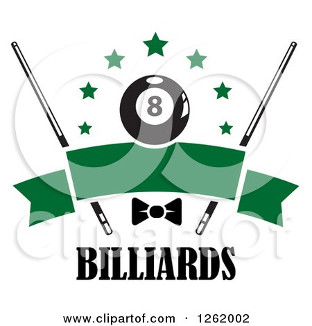 Clipart of a Billiards Pool Eightball with Stars, Cue Sticks and a Bow over a Blank Green Banner Above Text - Royalty Free Vector Illustration by Vector Tradition SM