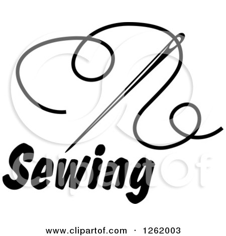 Clipart of a Black and White Sewing Needle and Thread over Text - Royalty Free Vector Illustration by Vector Tradition SM