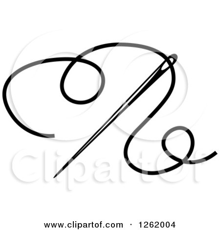 Clipart of a Black and White Sewing Needle and Thread - Royalty Free Vector Illustration by Vector Tradition SM