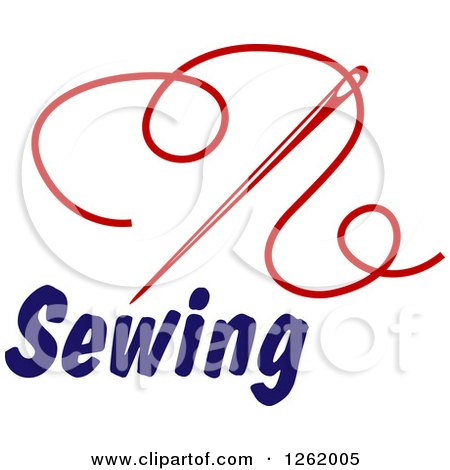 Clipart of a Red Sewing Needle and Thread over Text - Royalty Free Vector Illustration by Vector Tradition SM