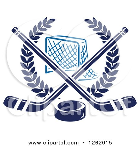 Clipart of a Hockey Goal Net in a Laurel Wreath with Crossed Sticks and a Puck - Royalty Free Vector Illustration by Vector Tradition SM
