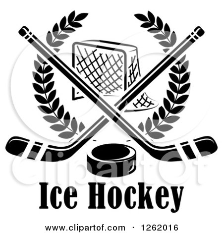Clipart of a Black and White Hockey Goal Net in a Laurel Wreath with Crossed Sticks and a Puck over Text - Royalty Free Vector Illustration by Vector Tradition SM