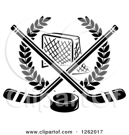 Clipart of a Black and White Hockey Goal Net in a Laurel Wreath with Crossed Sticks and a Puck - Royalty Free Vector Illustration by Vector Tradition SM