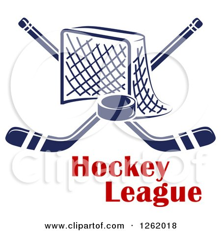 Clipart of a Hockey Goal Net with Crossed Sticks and a Puck over Text - Royalty Free Vector Illustration by Vector Tradition SM