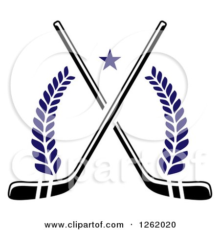 Clipart of a Star over Crossed Hockey Sticks and Laurels - Royalty Free Vector Illustration by Vector Tradition SM