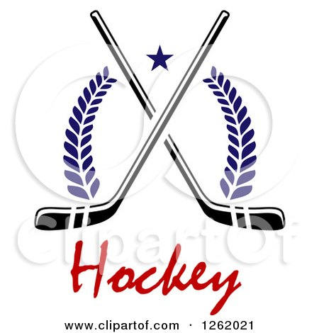 Clipart of a Star over Crossed Hockey Sticks, Laurels and Text - Royalty Free Vector Illustration by Vector Tradition SM
