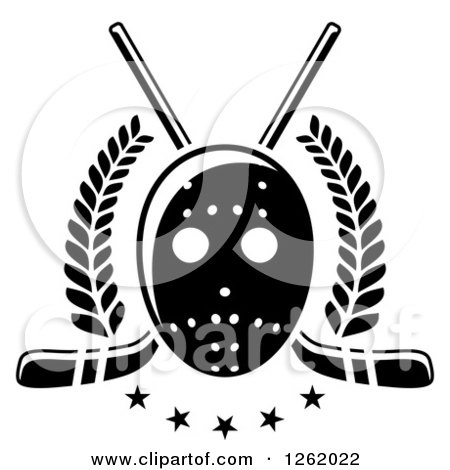Clipart of a Black and White Hockey Mask over Crossed Sticks, Laurels and Stars - Royalty Free Vector Illustration by Vector Tradition SM