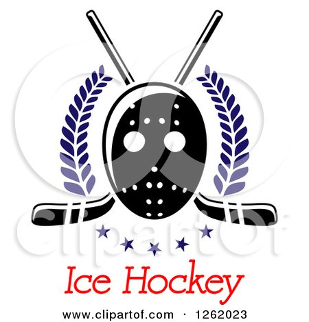 Clipart of a Hockey Mask over Crossed Sticks, Laurels, Stars and Text - Royalty Free Vector Illustration by Vector Tradition SM