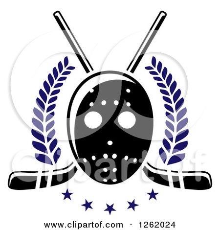 Clipart of a Hockey Mask over Crossed Sticks, Laurels and Stars - Royalty Free Vector Illustration by Vector Tradition SM