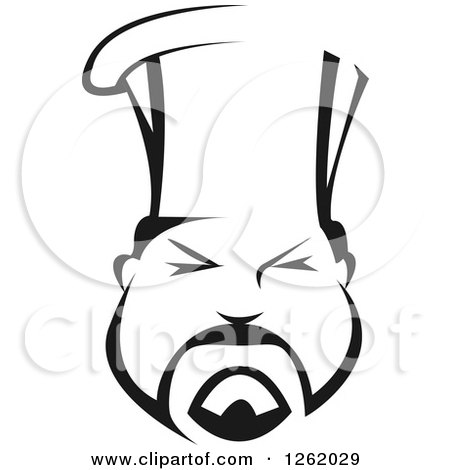 Clipart of a Black and White Asian Chef Face - Royalty Free Vector Illustration by Vector Tradition SM