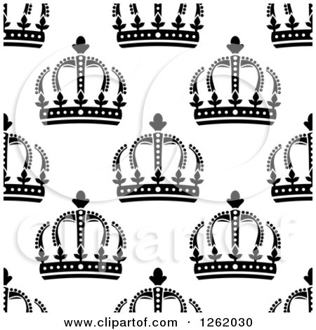 Clipart of a Seamless Background Pattern of Black and White Crowns - Royalty Free Vector Illustration by Vector Tradition SM