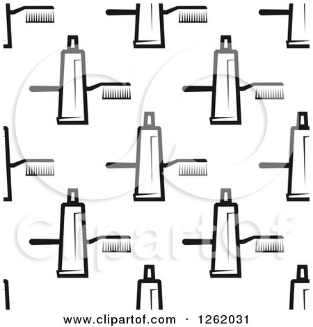 Clipart of a Seamless Background Pattern of Black and White Toothpaste and Toothbrushes - Royalty Free Vector Illustration by Vector Tradition SM