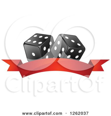 Clipart of Black and White Casino Dice over a Blank Red Banner - Royalty Free Vector Illustration by Vector Tradition SM