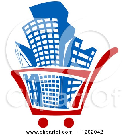 Clipart of a Shopping Cart Full of Buildings - Royalty Free Vector Illustration by Vector Tradition SM