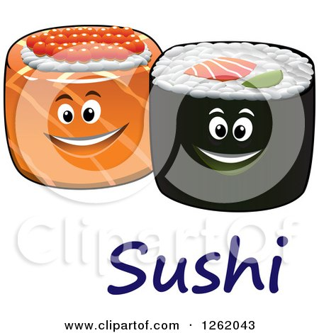 Clipart of Happy Sushi Rolls over Text - Royalty Free Vector Illustration by Vector Tradition SM