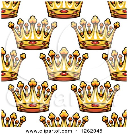 Clipart of a Seamless Background Pattern of Gold Ruby Crowns - Royalty Free Vector Illustration by Vector Tradition SM