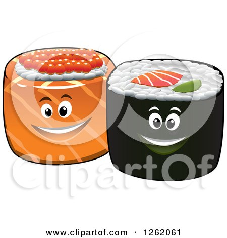 Clipart of Happy Sushi Rolls - Royalty Free Vector Illustration by Vector Tradition SM