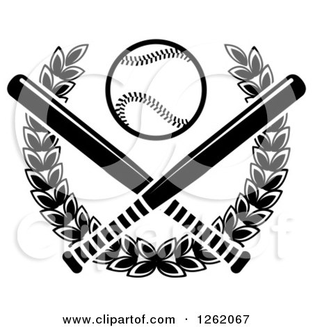 Clipart of a Black and White Baseball over Crossed Bats and a Laurel Wreath - Royalty Free Vector Illustration by Vector Tradition SM