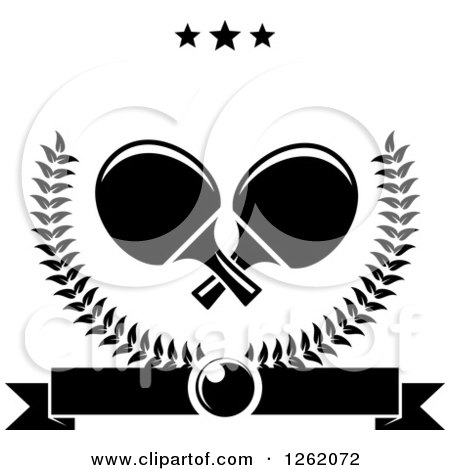 Clipart of Black and White Crossed Table Tennis Paddles in a Laurel Wreath with a Ping Pong Ball, Banner and Stars - Royalty Free Vector Illustration by Vector Tradition SM