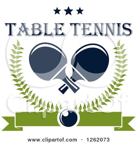 Clipart of Crossed Table Tennis Paddles in a Laurel Wreath with a Ping Pong Ball, Banner and Stars with Text - Royalty Free Vector Illustration by Vector Tradition SM