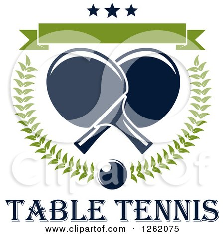 Clipart of a Crossed Table Tennis Paddles in a Laurel Wreath with a Ping Pong Ball, Blank Banner and Stars over Text - Royalty Free Vector Illustration by Vector Tradition SM
