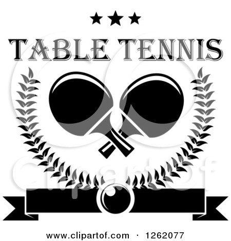 Clipart of Black and White Crossed Table Tennis Paddles in a Laurel Wreath with a Ping Pong Ball, Banner and Stars with Text - Royalty Free Vector Illustration by Vector Tradition SM
