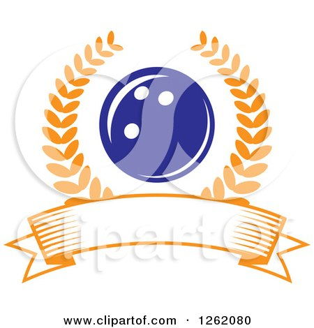 Clipart of a Blue Bowling Ball in a Laurel Wreath over a Blank Banner - Royalty Free Vector Illustration by Vector Tradition SM