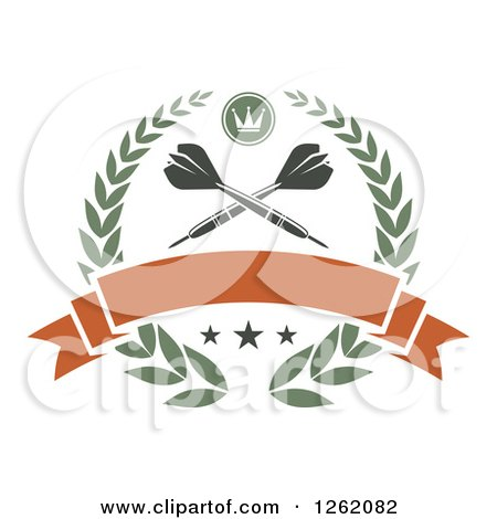 Clipart of Crossed Throwing Darts in a Laurel Wreath with a Crown Stars and Blank Banner - Royalty Free Vector Illustration by Vector Tradition SM